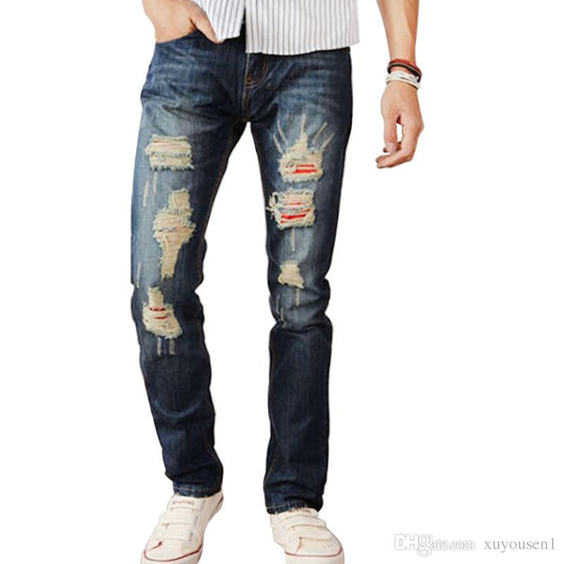 Buy Mens Torn Jeans Ripped Distressed Wash Straight Leg Trousers ...