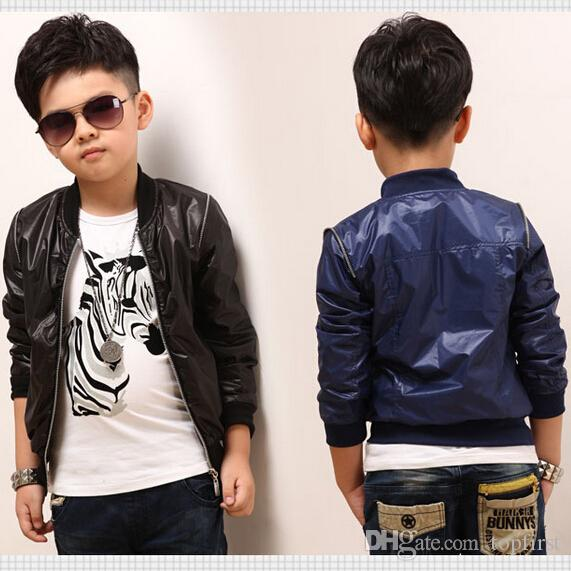 Fashion Boys Faux Leather Jackets Coat Kids Spring And Autumn ...