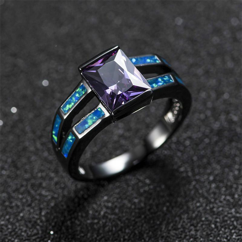 Wholesale Fashion Purple Stone Fire Opal Wedding Ring For Men Women