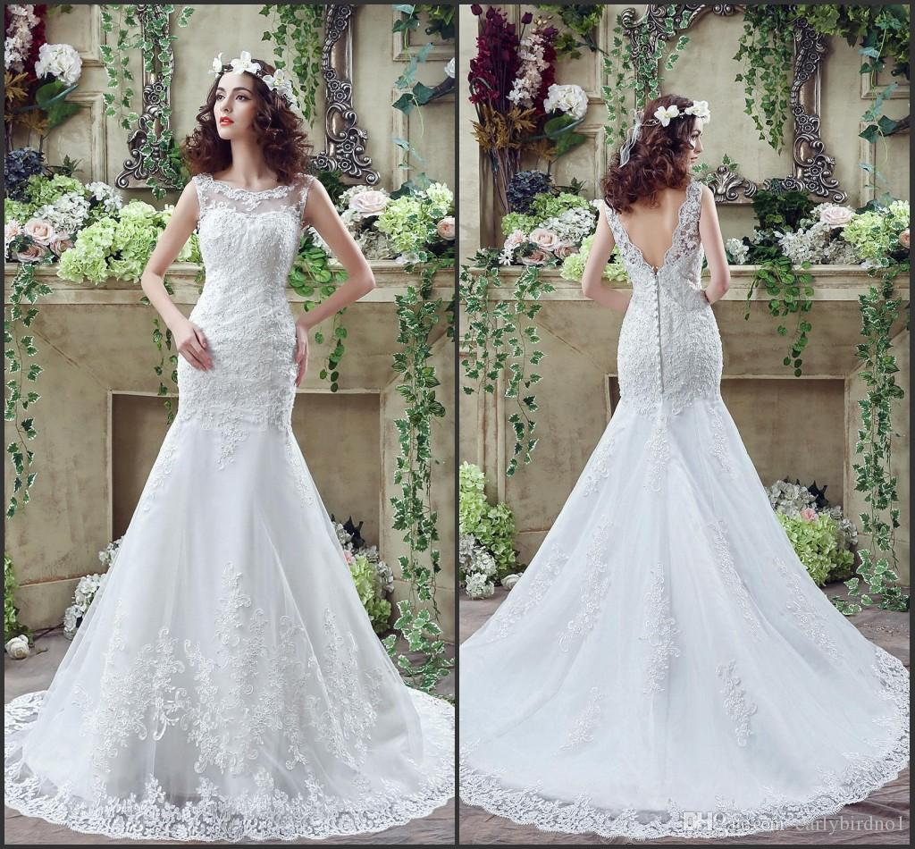 2017 Beautiful Lace Wedding Dresses Mermaid Sheer Bateau Neck With ...