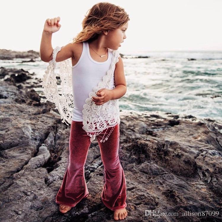 2019 Ins Girl's Pantaloni a zampa di elefante Leggings ragazza Pleuche Pantaloni bambini Pantaloni Solid vino rosso Slim Collant Autunno Primavera 1-5 anni