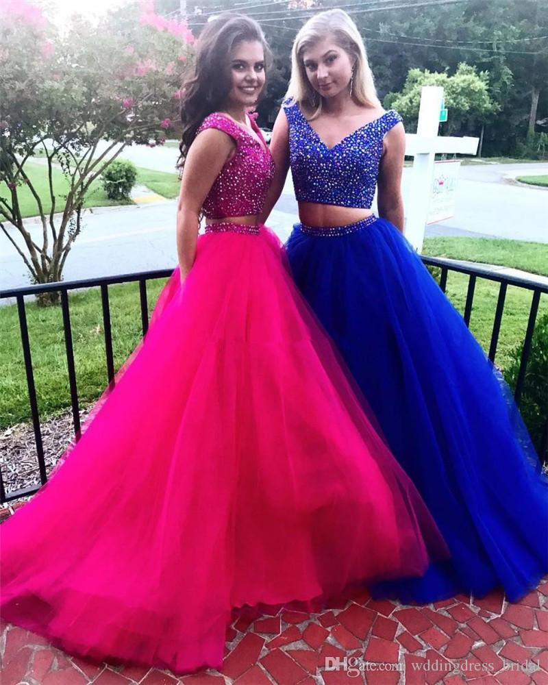 8b560225215 Two Pieces Hot Pink Prom Dresses 2019 Off The Shoulder Crystals Beaded  Tulle Ball Gown Evening Dress Royal Blue Plus Size Formal Dresses Canada  2019 From ...