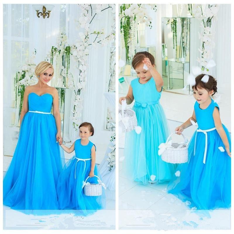 e0d526676441 Adorable Sky Blue Kids Wedding Dress With Bow Sash O Neck Tulle Long ...