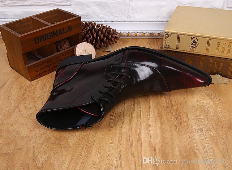Martin chaussures printemps style britannique chaussures bout pointu bourgogne hommes cuir verni bottines lacets bottes d'automne bottes de pluie pour hommes 37-46