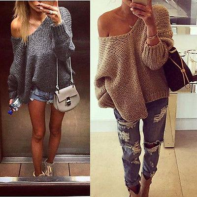2018 2016 Fashion Ladies Womens Long Sleeve Oversized Sweaters ...