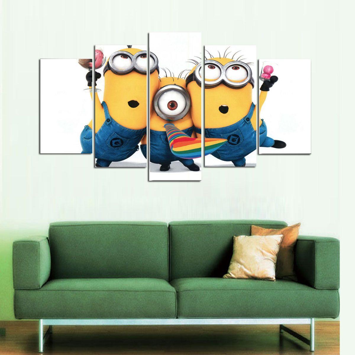 Compre Minions Thank You Gifs, 5 Piezas Home Decor Hd Impreso Arte ...