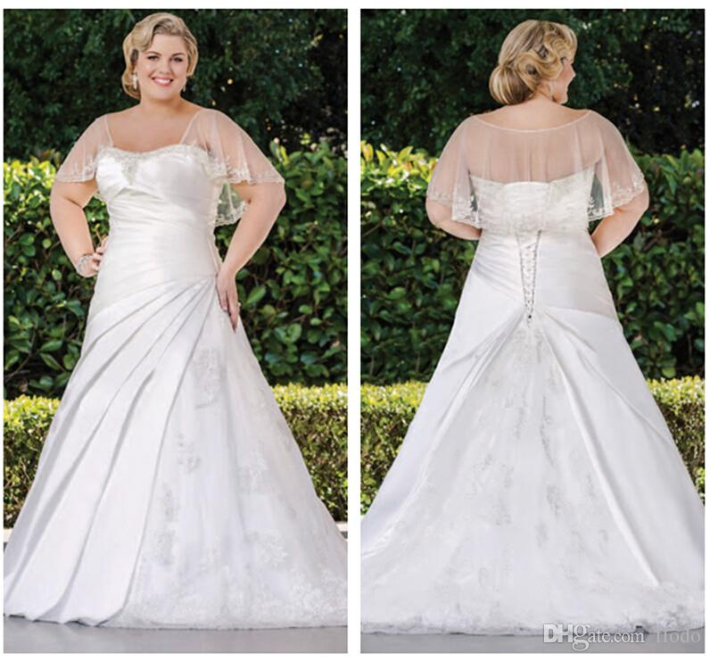 Discount 2015 Vintage Satin Plus Size Wedding Dresses With Illusion ...