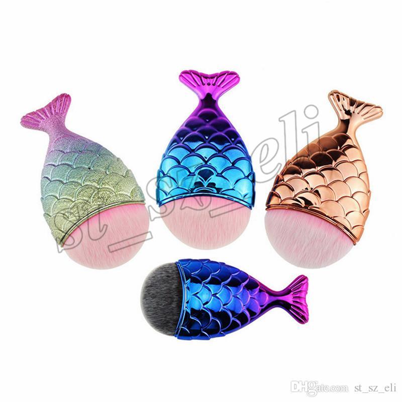 Neue Meerjungfrau Make-up Pinsel Pulver Kontur Fischschuppen Mermaidsalon Foundation Pinsel Gold Rose Gold Silber Blau Schwarz