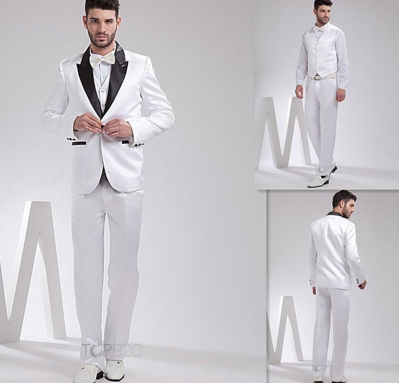 New Arrival White Wedding Suits One Button Shawal Collar Groom ...