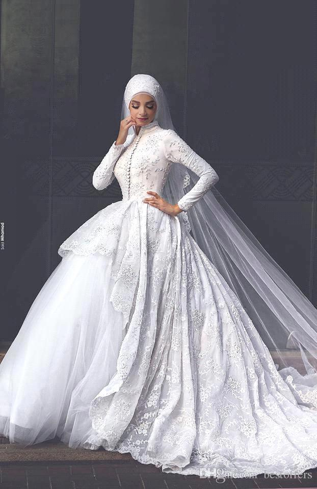 Discount 2017 New Arrival Muslim Lace Wedding Dresses Long Sleeves ...