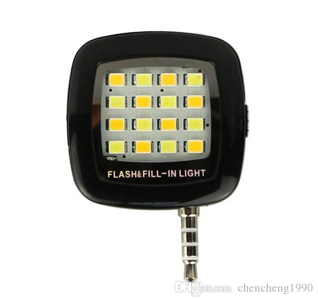 NEW Universal 3.5mm Jack Mini LED Camera Flash Fill-In Extra Light Flash lamp for Mobile Cell Phone with retail box