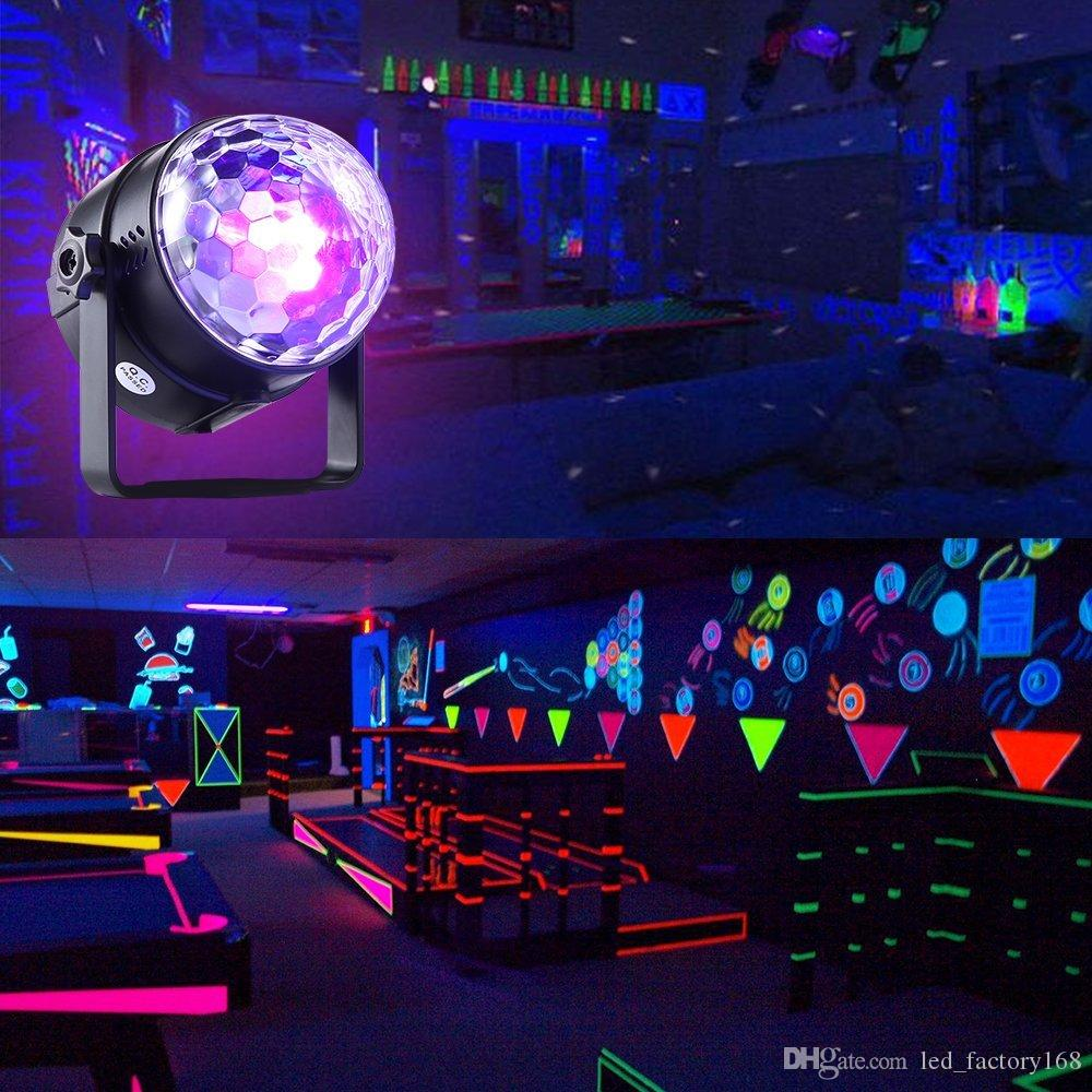 Mini Portable Disco Party Lights DJ UV Blacklight, 3 LED UV Stage Light with Remote Sound Activated Strobe for House Party Nightclub Karaoke