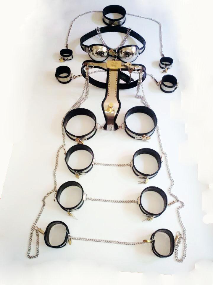 Aço inoxidável Conjunto Feminino Dispositivo de Castidade Cinto de Castidade bdsm Bondage Restraint Escravo Brinquedos Collar / Mão Coxa Algemas / Butt Plug