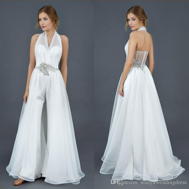 Discount Fashion Halter Pants Suit Wedding Dresses 2016