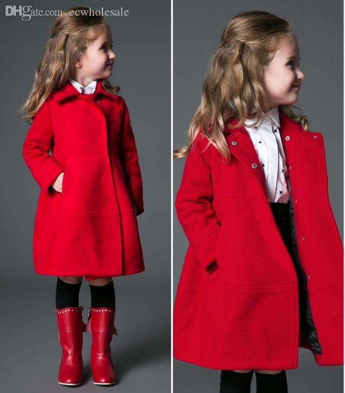 Wholesale European Brand Girls Wool Dress Coat Children'S Winter ...