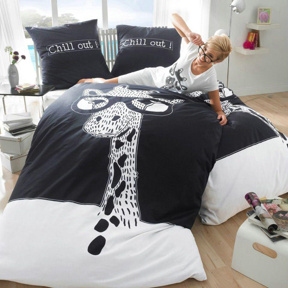 Favorite Black And White Giraffe Bedding Set King Size Queen Cotton Bed  RM45