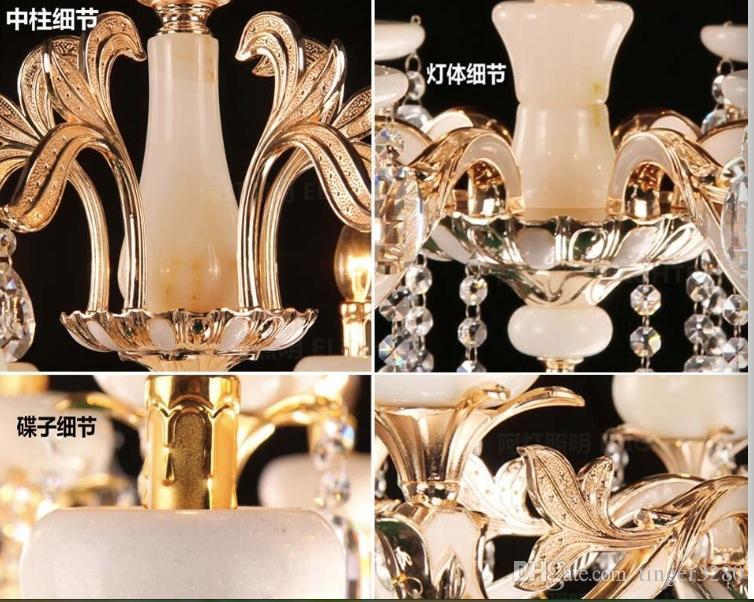 شحن مجاني حار بيع كلاسيكي كريستال الثريا ضوء ذهبي اللون كريستال الإضاءة مع 6 الأسلحة d650mm ac 100٪ مضمون