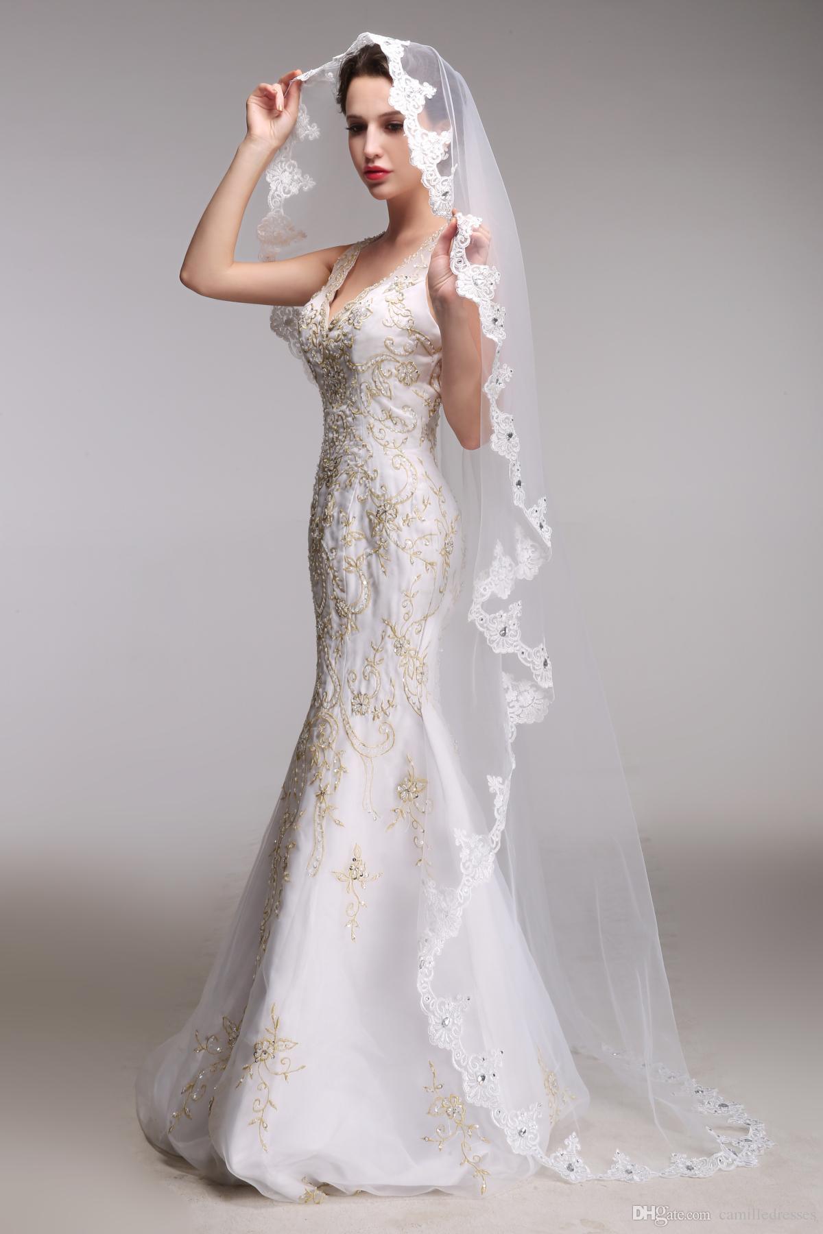 Wedding Bride Veil elegant wedding veils chapel length lace applique bridal veil accessories ivory with attractive stunning rhinestones bride ve