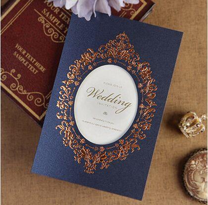 Gold Laciness Wedding Invitations Delicate Blue Wedding Inviting Card  Elegant Laser Cut Paper Card Decoration Casamento Gold Laciness Wedding  Invitations ...