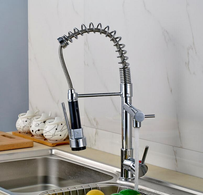 Whole And Retail Modern Chrome Brass Kitchen Faucet Dual Sprayer Spring Vessel Sink Mixer Tap Solid Deck Mounted