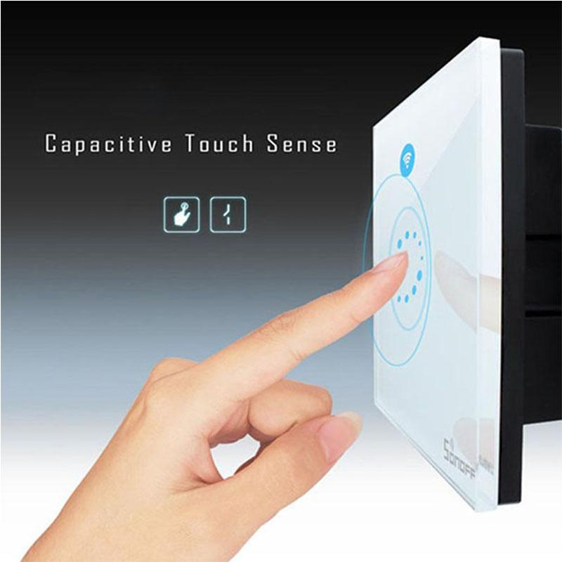 Sonoff Wifi Touch Wall Switch Wifi LED Touch Timer Switch Glass Panel Controller Light Switch Remote Control By APP US EU Plug OTH725