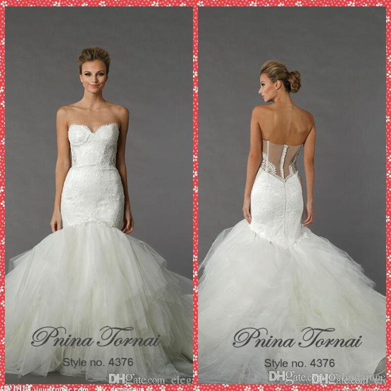 Vestidos De Novia Pnina Tornai Mermaid Wedding Dresses 2016 Beaded ...