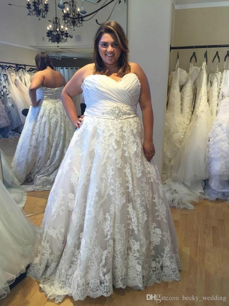 Großhandel Plus Size Romantische Spitze Brautkleider Eine Linie ...