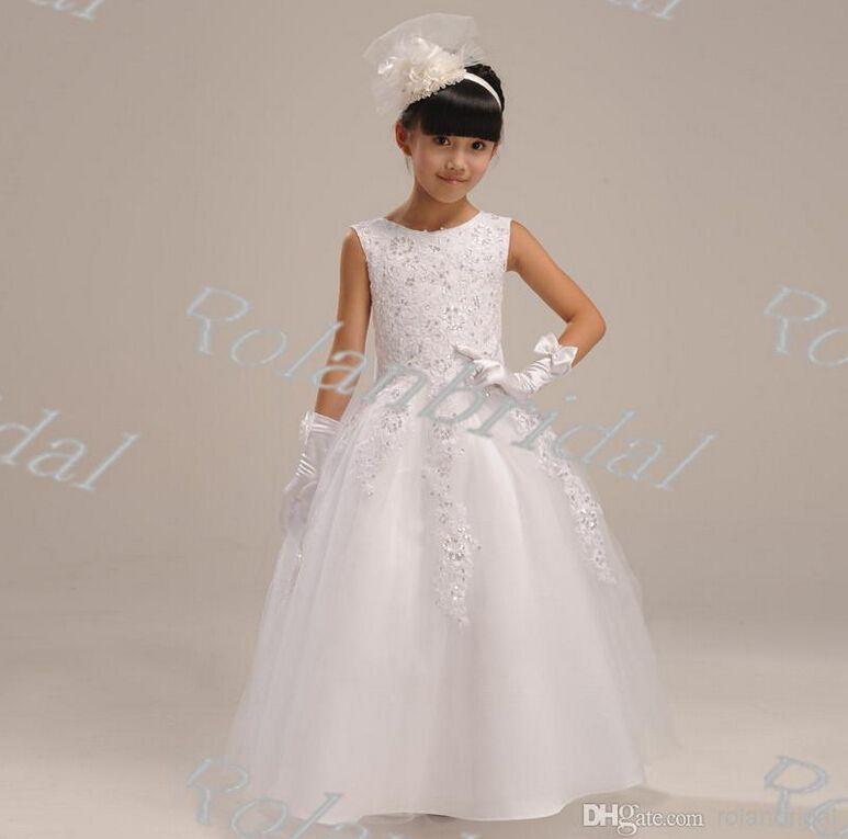 girl long design formal dress quality child puff princess wedding dress for flower girl