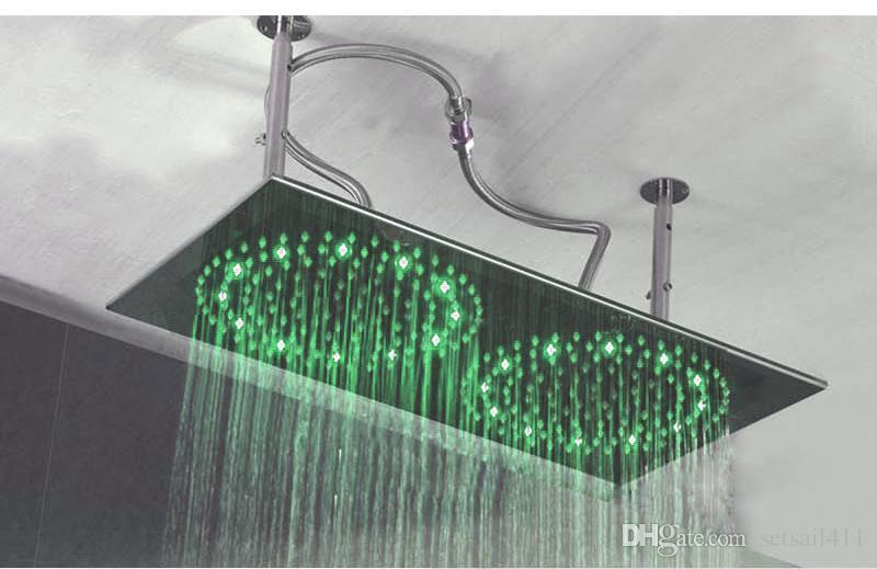 هطول الأمطار مزدوجة أدى ضوء دش استحمام 304 الفولاذ المقاوم للصدأ 400 * 800 ملليمتر رئيس دش المطر الحمام المطاط أضواء المياه