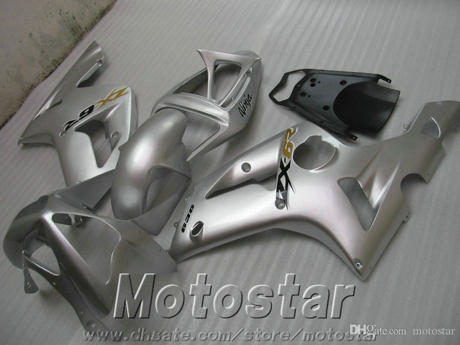 Мотоцикл обтекатель комплект для kawasaki ZX6R 636 03 04 ниндзя черный серебряный высокое качество обтекатели комплект ZX-6R 2003 2004 SD4