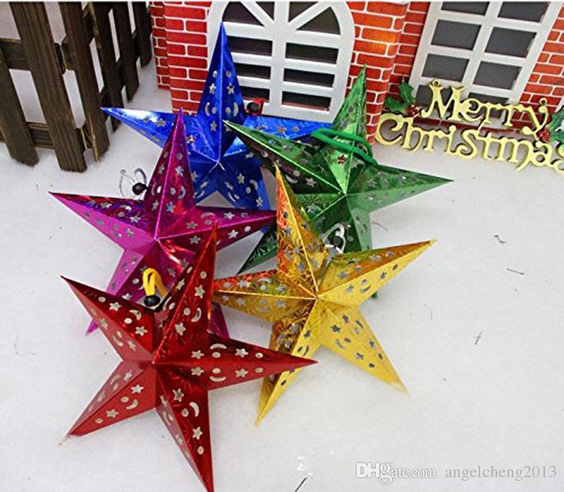 Trois dimensions laser pentacle étoile ombre bar abat-jour ornements de décoration de plafond cadeau décoration de Noël ensemble de 60