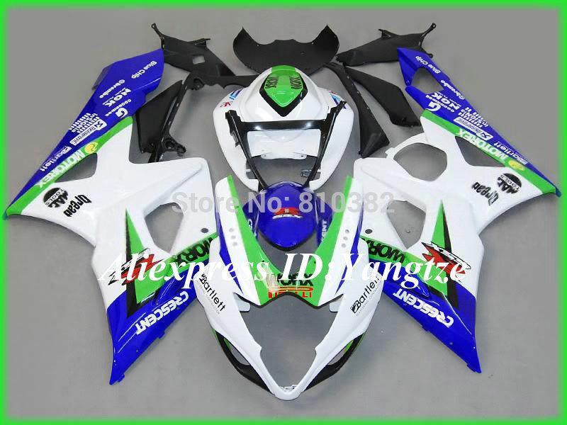 Custom motorcycle fairing kit for SUZUKI GSXR 1000 05 06 GSX-R GSXR 1000 K5 2005 --2006 White blue green trim