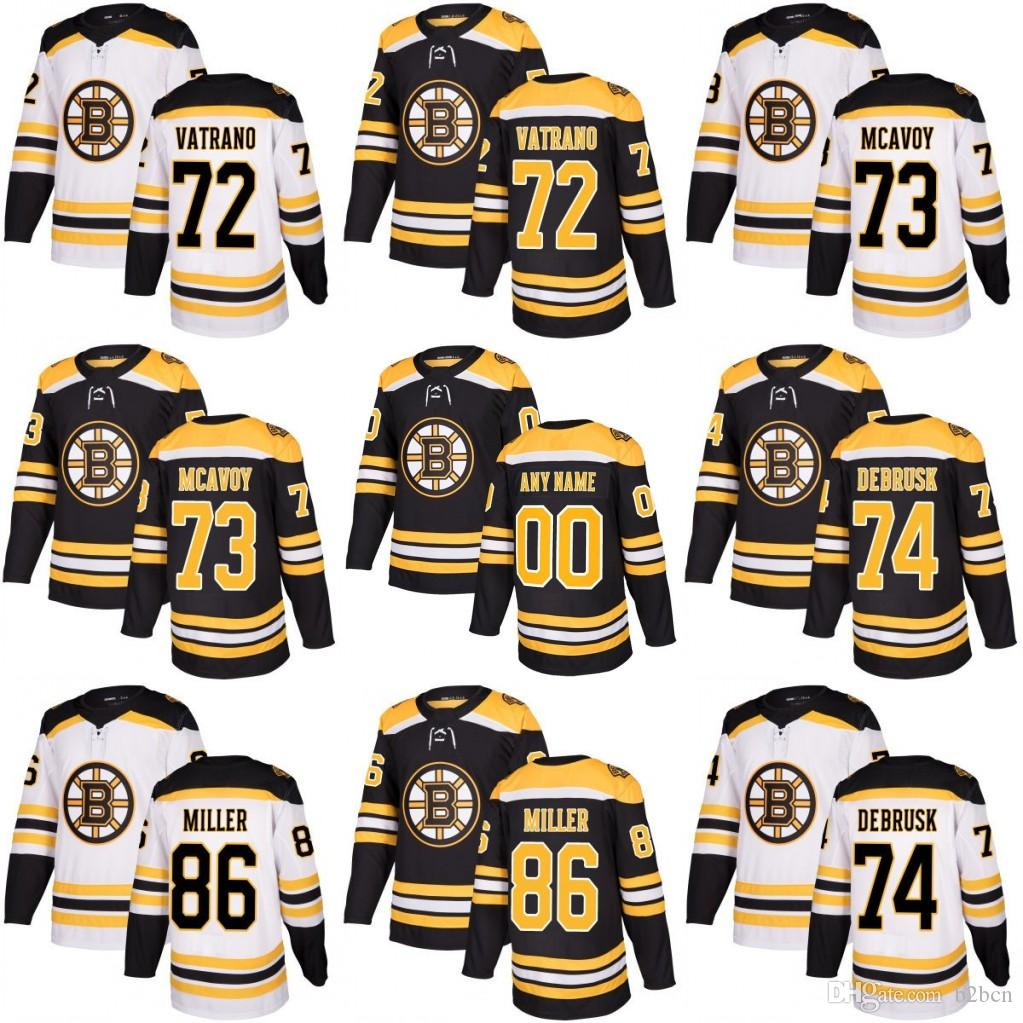 2019 Men 2018 New Style Boston Bruins 72 Frank Vatrano 73 Charlie Mcavoy 74  Jake DeBrusk 86 Kevan Miller Jerseys Black White From B2bcn f90c9c942