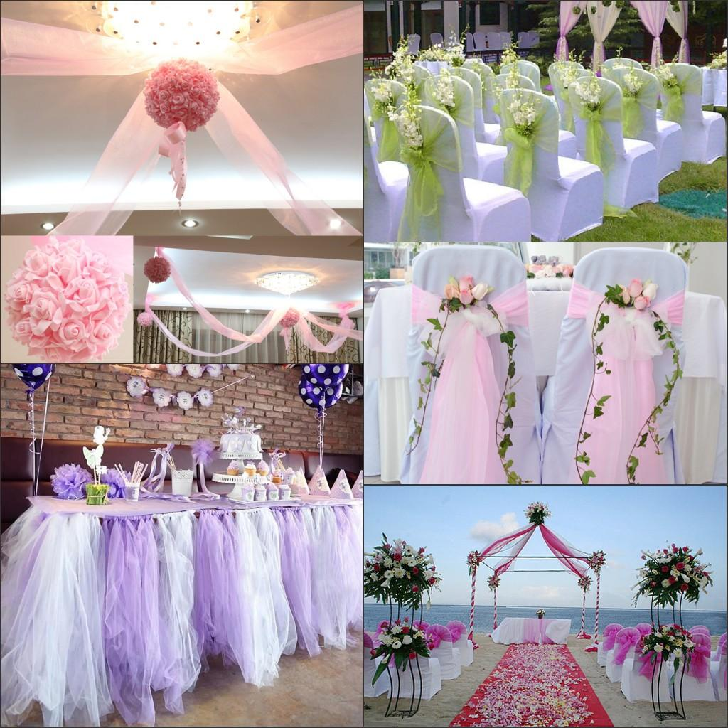 2015 Organza Chairs Table Covers Wedding Decorations Supplies 75 150cm Width Pink Purple Red DIY Party Sashes Fabrics MIC 10m
