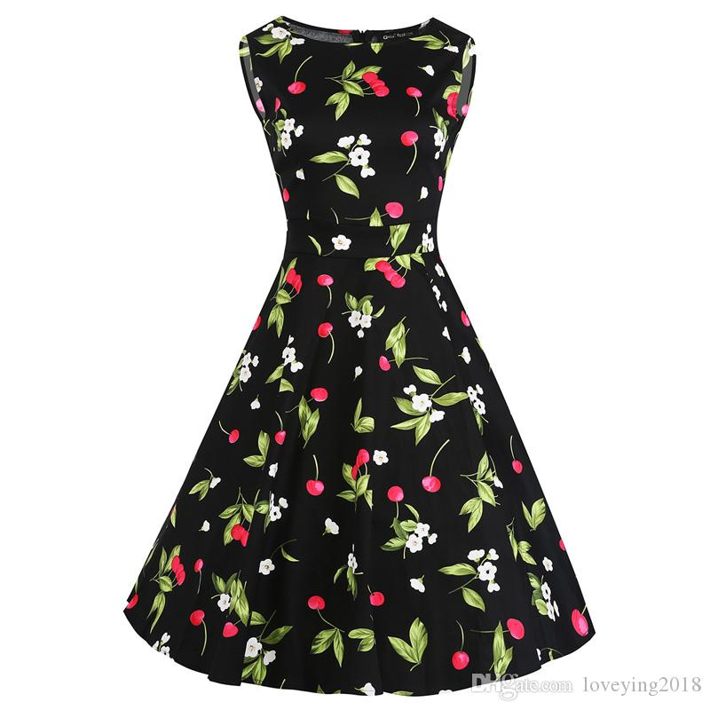 45c4689edee 2018 Summer New Women Sleeveless Retro Style 1950s 20s Vintage Dress Floral  Print Cherry Knee Length Swing Dresses Dress For Summer Dress Summer From  ...