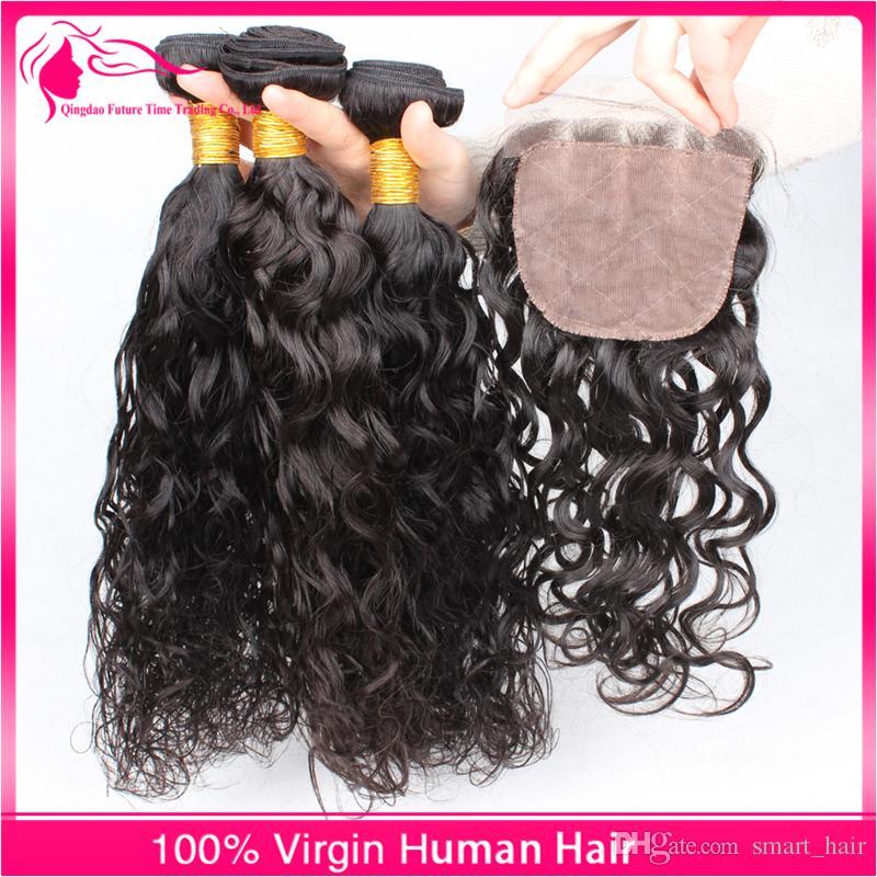 레이스 클로저 / 9A 레이스 클로저와 함께 말레이시아 버진 인간의 머리카락 번들 4x4 무료 중간 세 부분
