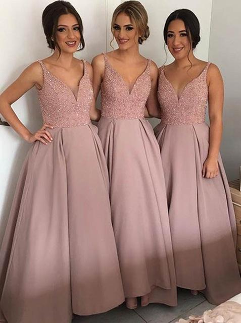 Blush Cheap Country Bridesmaid Dresses Best V Neck Top Beaded Satin Bohemian Evening Dresses Hi Low Backless Prom Gowns Maid Of Honor Dress
