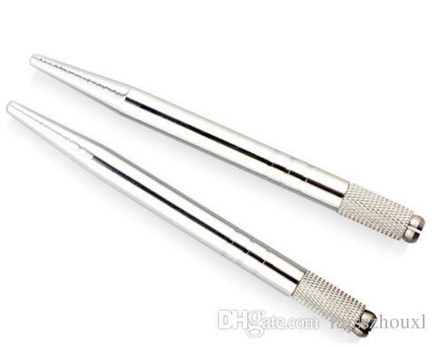Gümüş Alüminyum Profesyonel Manuel Dövme Kalem Kalıcı Makyaj Dövme Kalem 3D Kaş Nakış Mikroblading Kalem