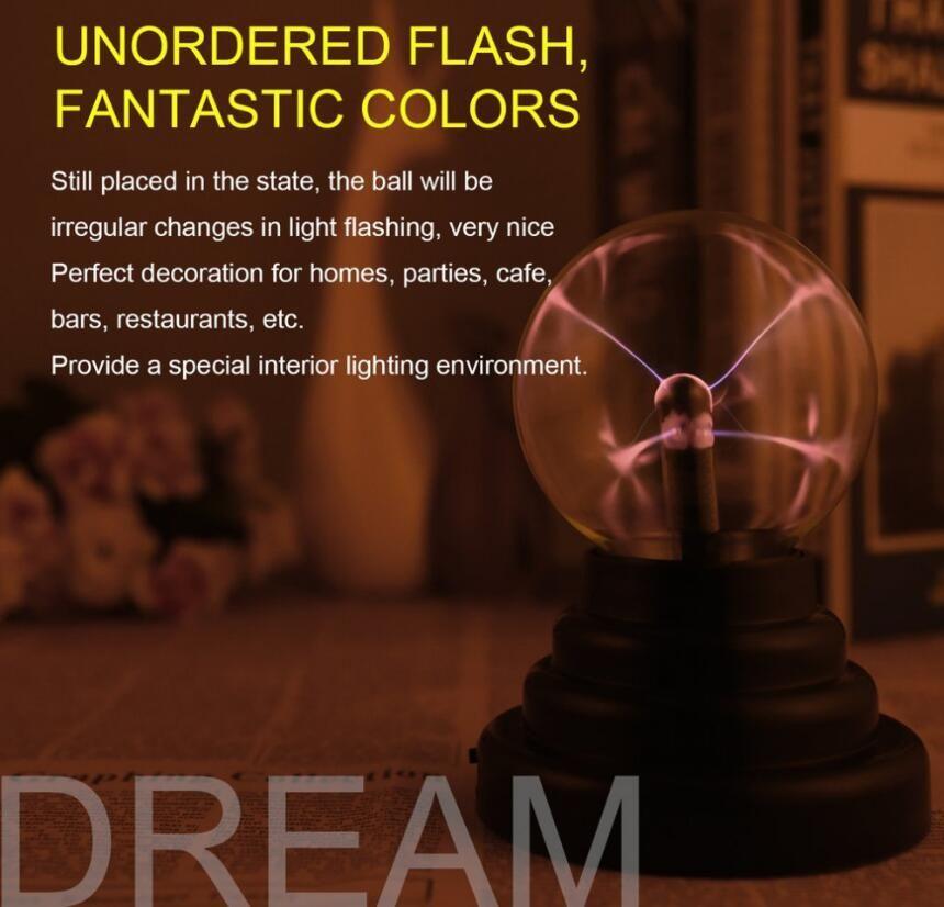 Calidad Superior 3 Pulgadas Magic USB Bola de Plasma Esfera Luz Magia Bola de Plasma Cristal Luz Transparente Lámpara de Decoración Del Hogar