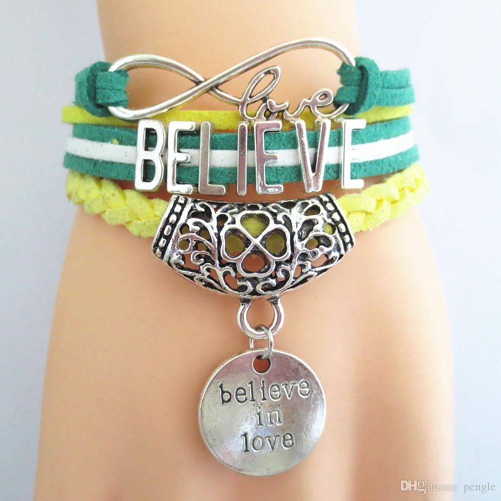 Hot Sales New Infinity Bracelet Design Believe Love Charm Bracelets Leather Bracelets Multilayer Bracelet Jewelry For Women