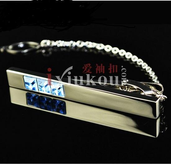 wish_team Brand blue crystal Silver Tone Metal Mens Fashion Tie Bar Clips best gift W379