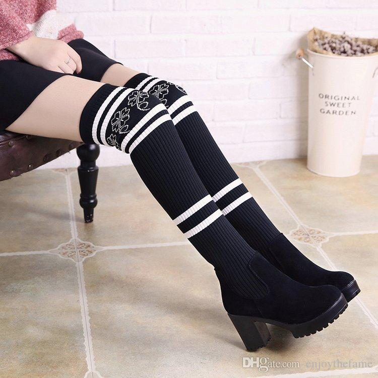 9b5fbe5bee8a3 2017 New winter Martin boots sexy over knee Chunky Heel shoes Women's  Stretch wool stockings boots Thigh-High Socks boots