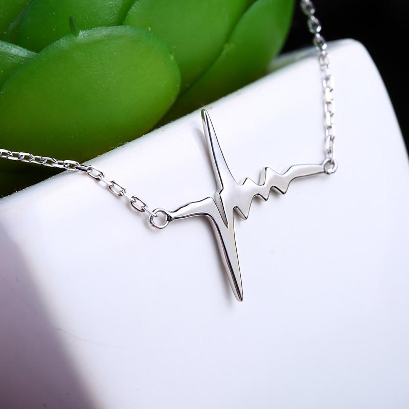 Wholesale Unique Fancy Design Trendy Silver Lightning Pendant 925 Sterling Silver Chain Choker Necklace for Women In Lucky Sonny Store