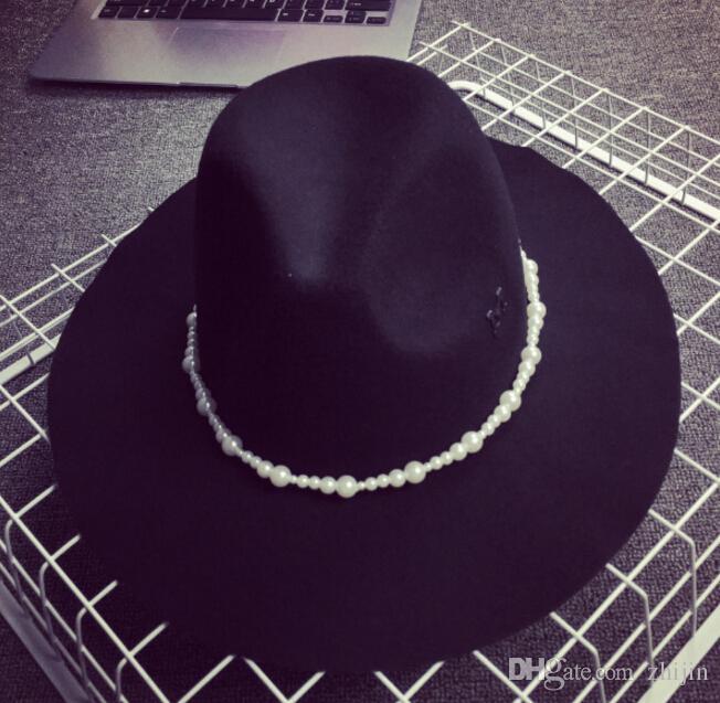 Wholesale-Vintage Wide Brim Wool Felt Fedora Hat Fashion Lady Girls Black Floppy Cloche Party Jazz Hats for Women