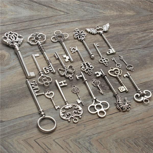 arrivo Antique vintage old look scheletro chiave lotto ciondolo cuore arco serratura steampunk gioiello ordine $ 18no pista