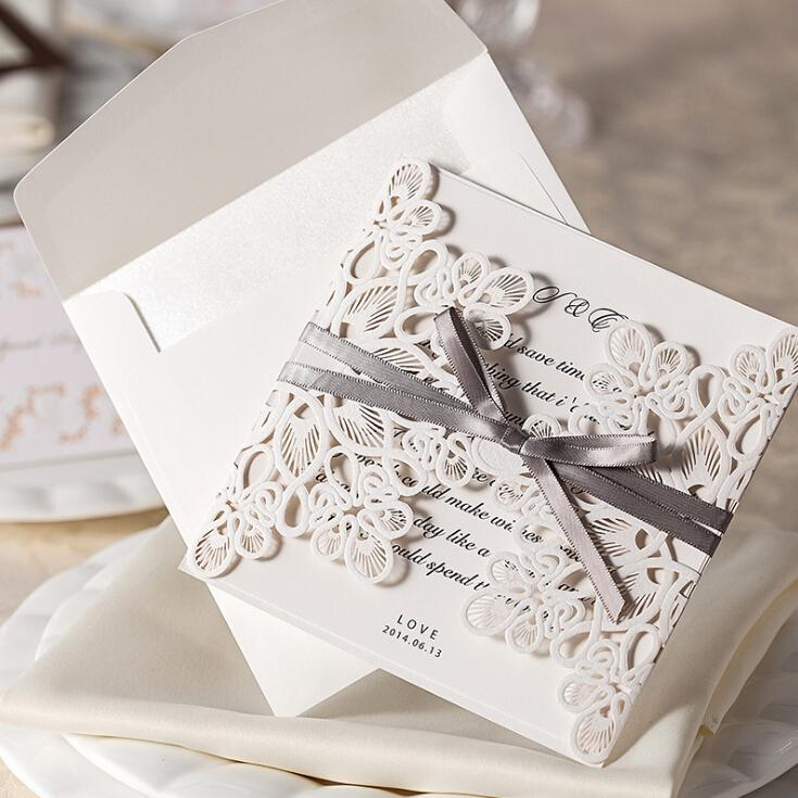 White Hollow Lace Flora Wedding Invitation Cards 2015 New Wedding