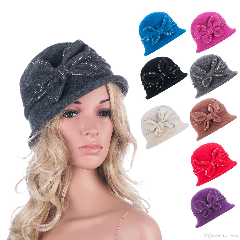 ba8ea12b349a2 2019 Womens Gatsby 1920s Flapper Girl Winter Warm Wool Cap Beret Beanie  Cloche Bucket Floral Hat A286 From Spowwow