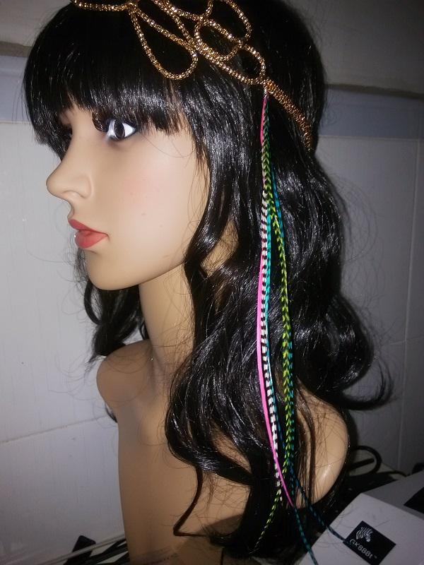 Bright Color clip in feather hair products 100% Real Grizzly Thin Rooster Feather hair extensions For Christmas Party