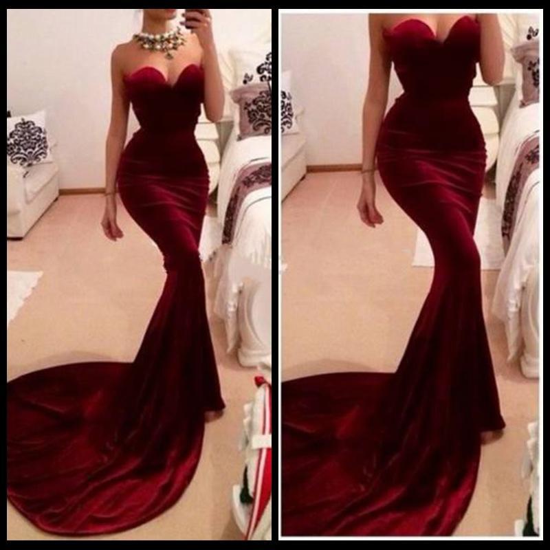 New Fashionable Borgogna Sweetheart Abito in velluto Elegante Mermaid Prom Dresses 2015 Vestido De Festas