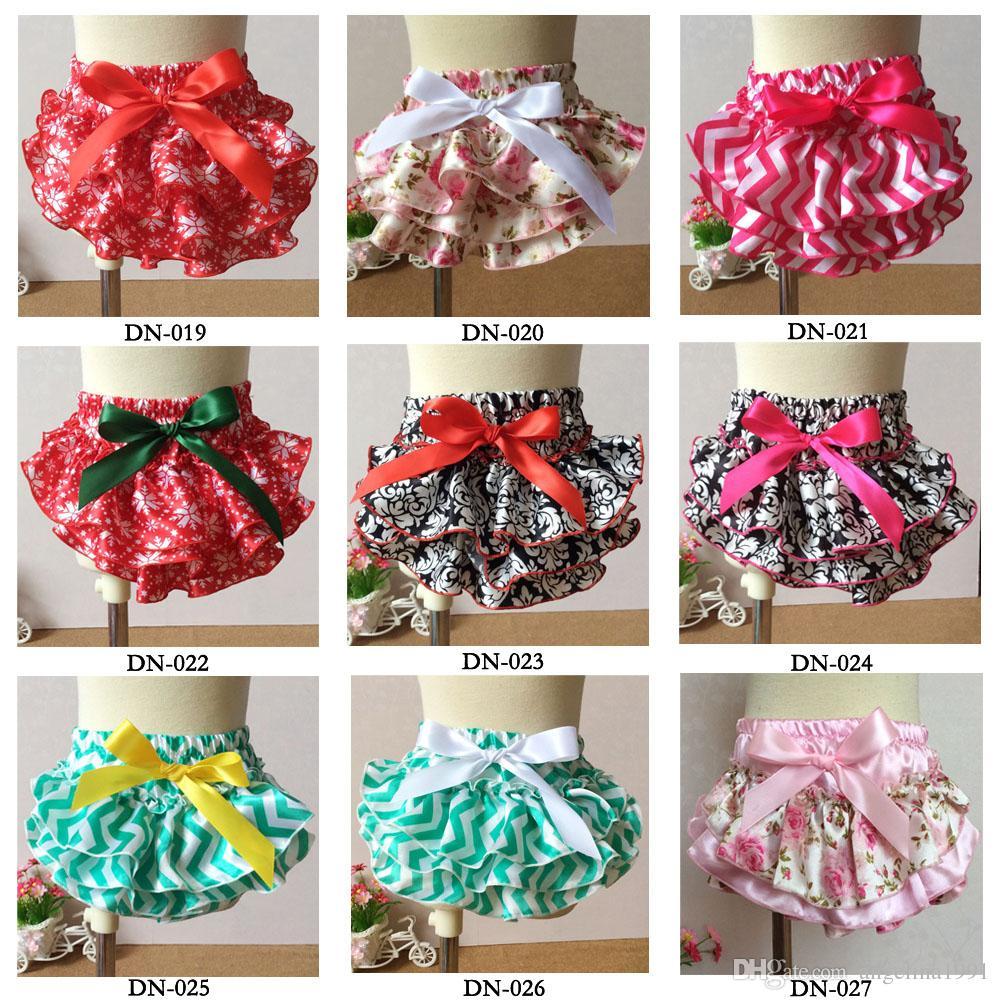 Bebek polka bloomers kısa pantolon baskılı saten PP pantolon çocuk ilmek bloomers bebek 94 stilleri sıcak için külot fırfır